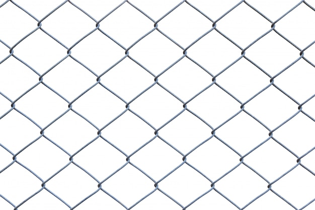 Metal wire fence or cage on white background with clipping path Premium Photo
