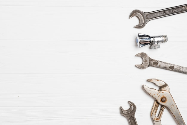 Metal wrenches on whtie Free Photo