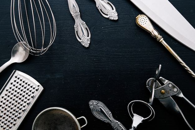 Metallic cooking equipment on kitchen counter Free Photo