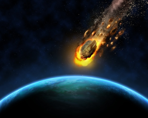 Meteorite approaching to the earth Free Photo