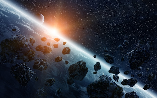 Meteorite impact on planet earth in space Premium Photo