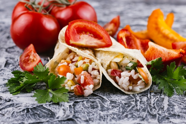 Mexican burrito with vegetables Free Photo