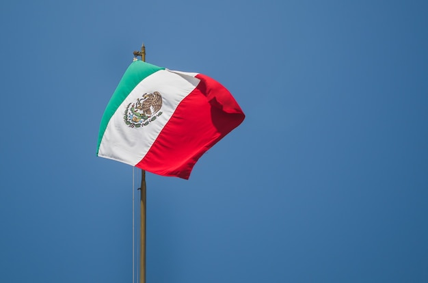 Mexican flag with blue sky Premium Photo