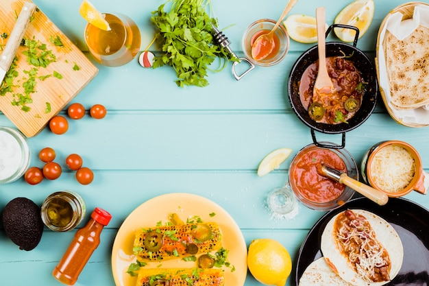 Mexican food concept with copyspace Free Photo