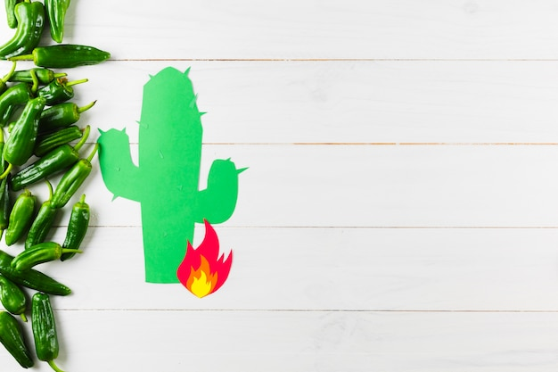 Mexican food concept with green peppers and copyspace Free Photo