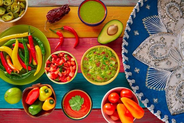 Mexican food mixed guacamole nachos chili sauce Premium Photo