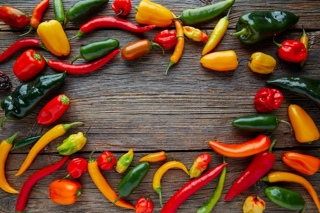 Mexican hot chili peppers colorful mix Premium Photo