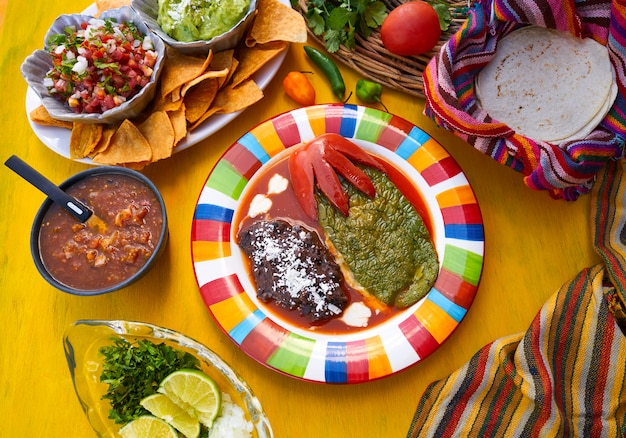 Mexican nopal filled recipe with sauces Premium Photo