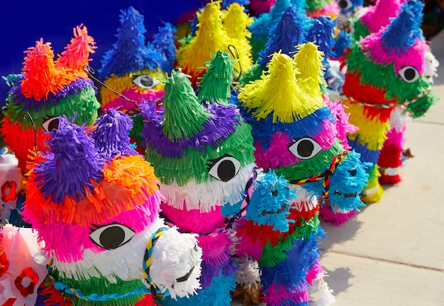 Mexican party pinatas tissue colorful paper Premium Photo