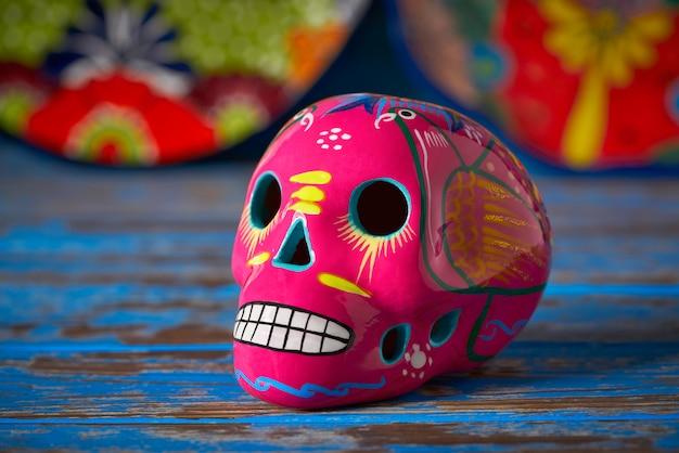 Mexican pink skull dia muertos craft Premium Photo