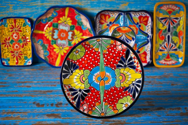 Mexican pottery talavera style of mexico Premium Photo