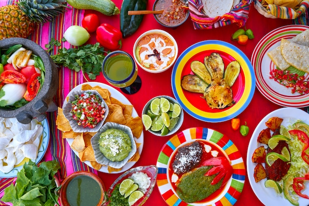 Mexican recipes mix with mexico sauces Premium Photo