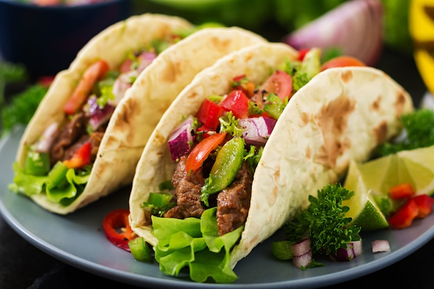 Free Photo Mexican Tacos With Beef In Tomato Sauce And Salsa
