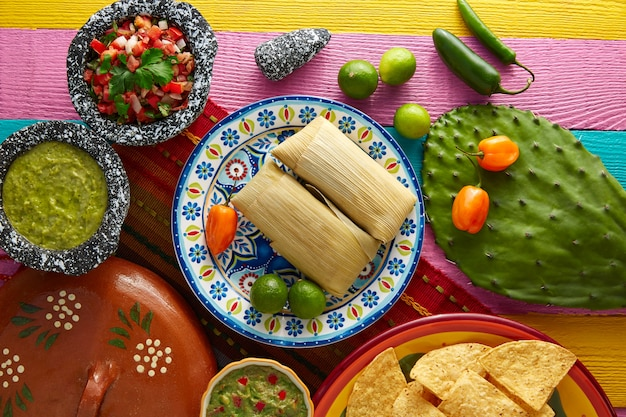 Mexican tamale tamales of corn leaves Premium Photo