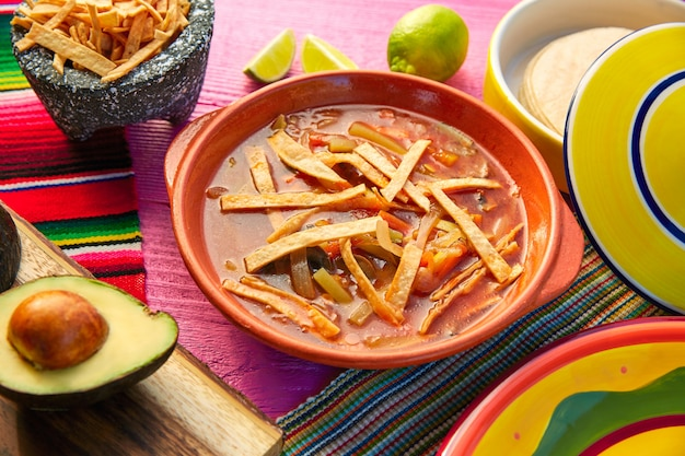 Mexican tortilla soup and aguacate Premium Photo