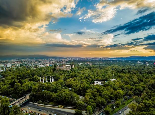 Mexico city - chapultepec panoramic view - sunset Premium Photo