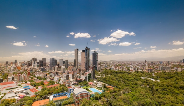 Mexico city panoramic view - chapultepec and reforma Premium Photo