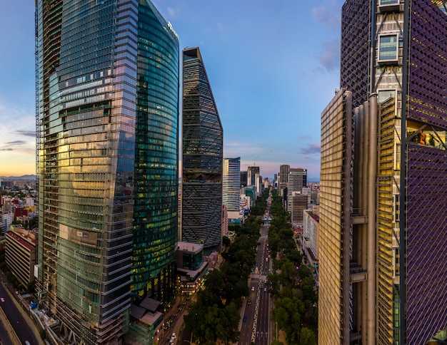 Mexico city reforma avenue skyscrappers aerial view Premium Photo
