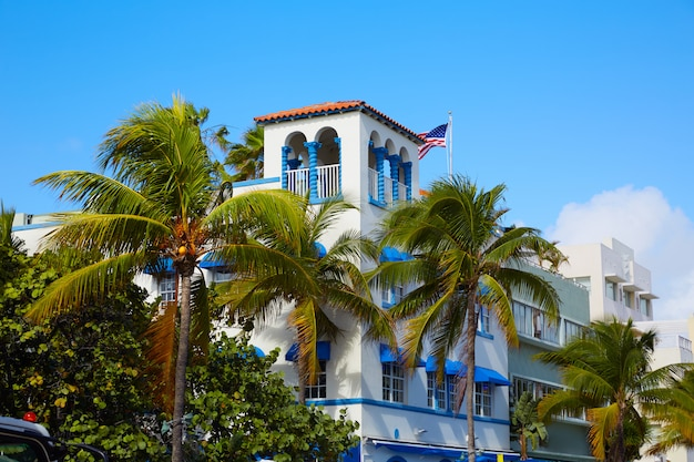 Miami beach ocean boulevard art deco florida Premium Photo