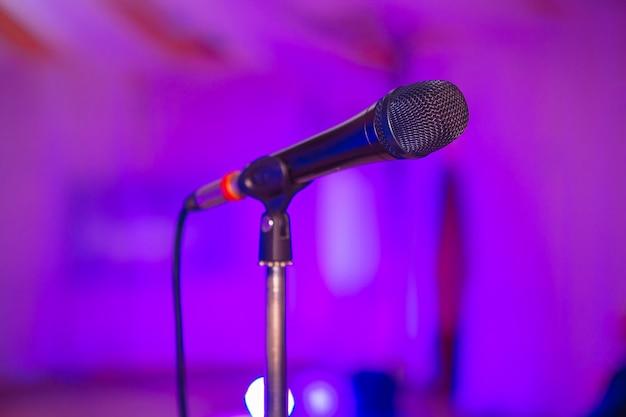 Microphone audio mixer blurred Premium Photo