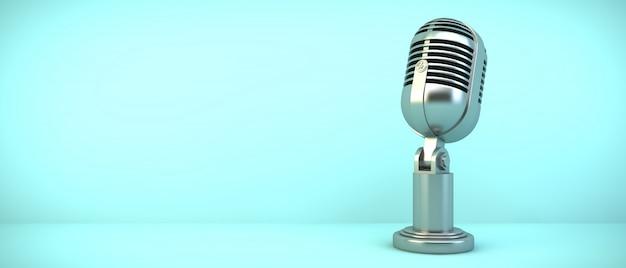 Microphone on blue room, 3d rendering Premium Photo