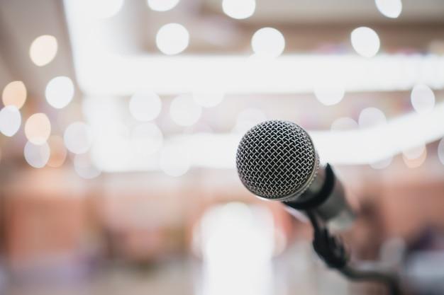 Microphone on blurred seminar conference Premium Photo