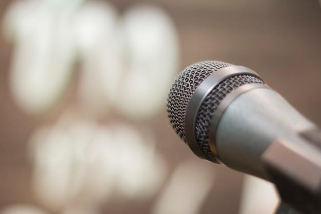 Microphone in concert hall Premium Photo