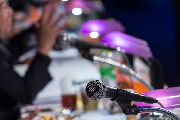 Microphone in the  conference hall or seminar room. meeting room, seminar, event, business,  hall,  presentation, exhibition Premium Photo