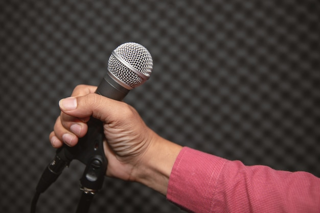 Microphone holder in music studio for music training or music recording Premium Photo