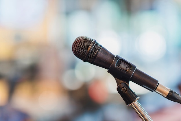 Microphone in the meeting room. Premium Photo