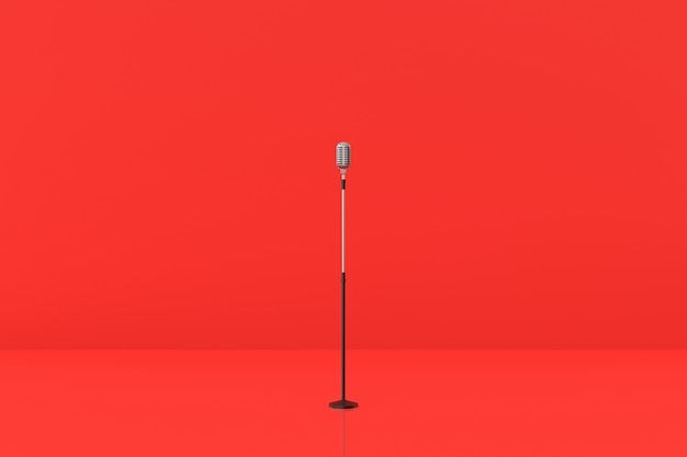 Microphone model on red background. 3d rendering. Premium Photo