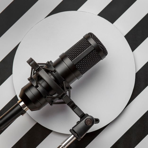 Microphone on modern background Free Photo
