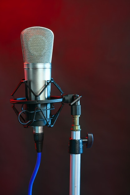 Microphone in the night colorful light Premium Photo