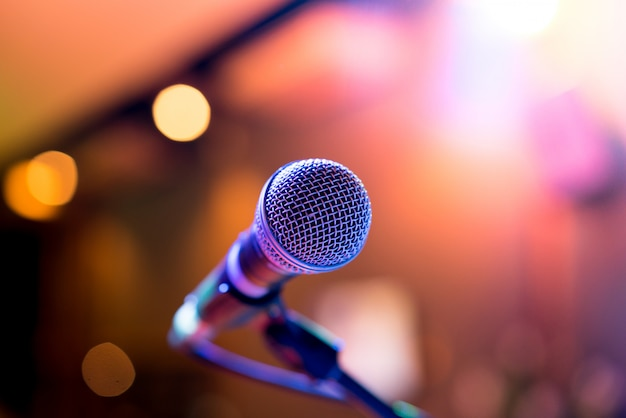 Microphone in party or concert Premium Photo