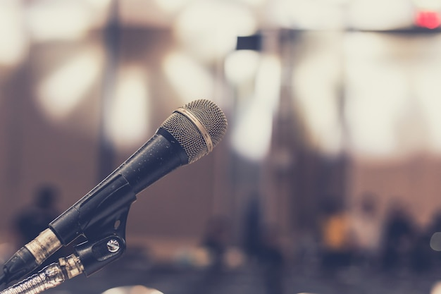 Microphone in seminar room Premium Photo