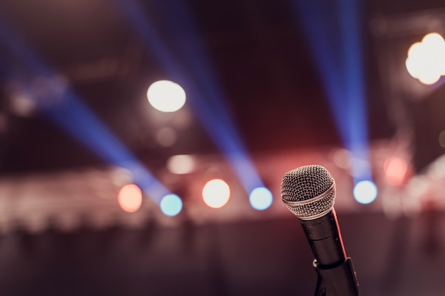 Microphone on stage Premium Photo