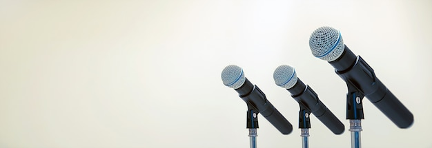Microphone on the stand for public speaking,welcoming or congratulations speech for work success background concept. Premium Photo
