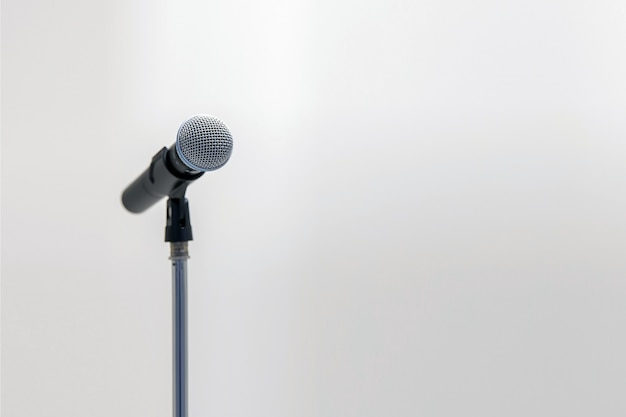 Microphone on the stand for public speaking Premium Photo