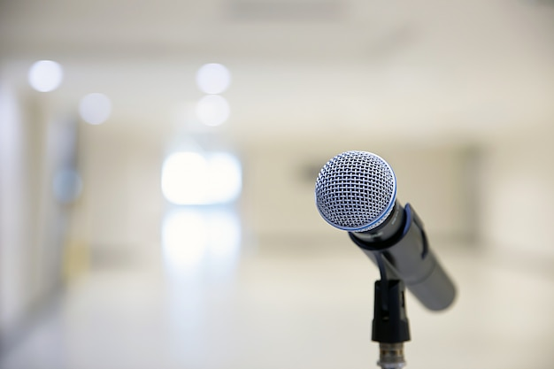 Microphone on the stand. Premium Photo