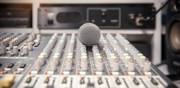 Microphone with mixer audio at studio for live the media and sound record. Premium Photo