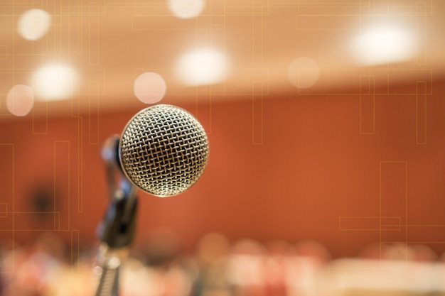 Microphones for speech or speaking in seminar conference room Premium Photo