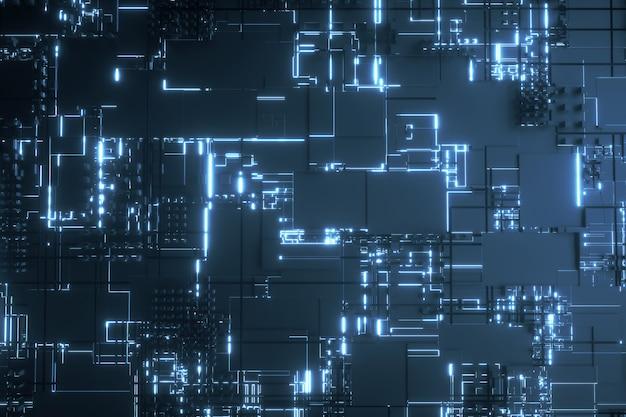 Microprocessor blue futuristic 3d background Premium Photo