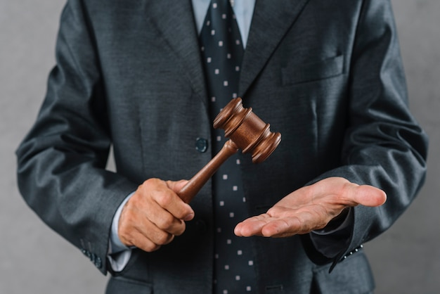 Mid section of male lawyer holding wooden mallet in hand Free Photo