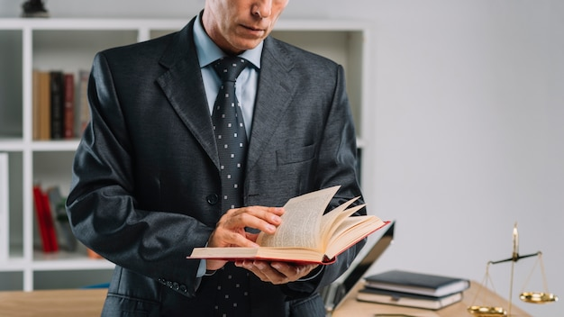 Mid section of mature lawyer reading book in the office Free Photo