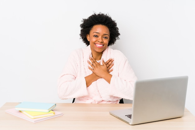 Middle aged african american woman working at home Premium Photo