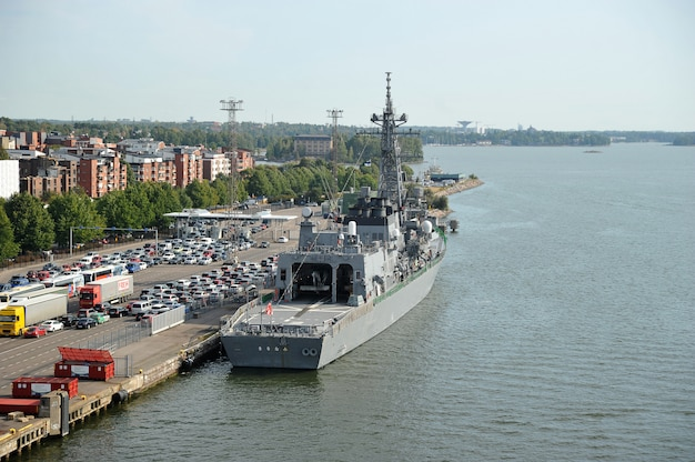 Military ship at the cargo terminal in the port of helsinki Premium Photo
