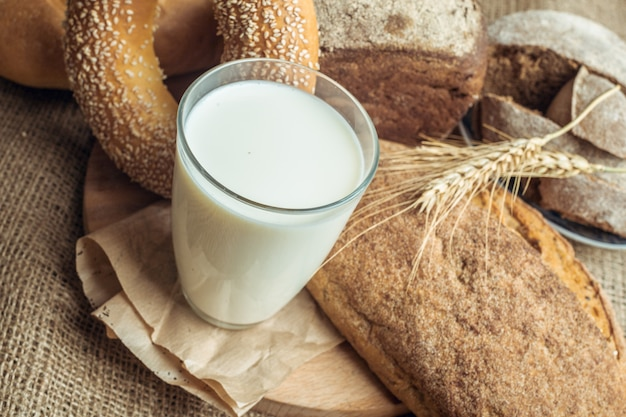 Milk and bakery products Premium Photo