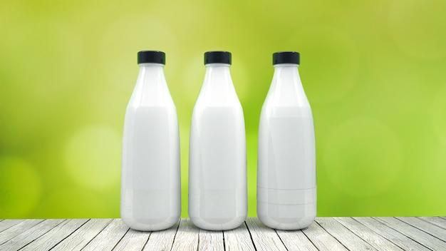 Milk bottle mock-up - three bottles. blank label Premium Photo