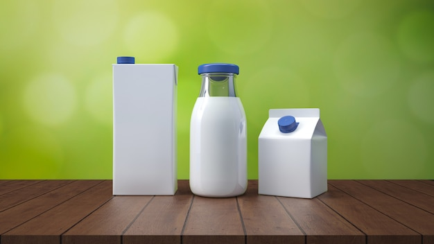 Milk bottle with label 3d rendering. Premium Photo