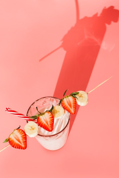 Milk cocktail with strawberry and banana Free Photo